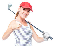 Golfer young and successful with golf club on white Stock Photos