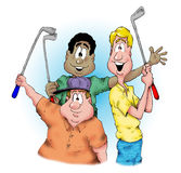 The Golfers. These guys love to golf Stock Photo