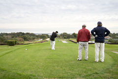 Golfers. A golfer tees off as two other players look on Stock Photography