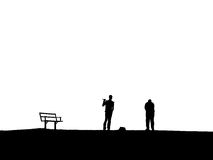 Golfers. Silhouette of golfers Royalty Free Stock Photo
