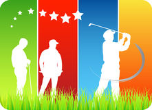 Golfers. Illustration of golfers with abstract background royalty free illustration