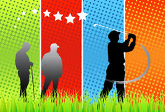 Golfers. Vector illustration of golfers with halftone background stock illustration