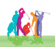 Golfers. Colorful silhouette of golfers playing a game of golf on white Stock Photography