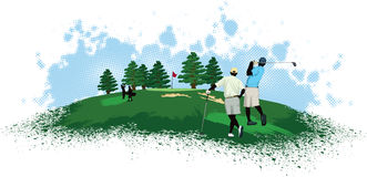 Golfers on a Golf Course Stock Image