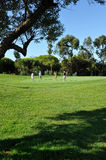 Golfers on the golf course, El Rompido, Andalusia, Spain Royalty Free Stock Photos