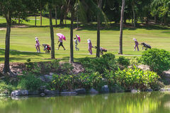 Golfers on golf course in Thailand Royalty Free Stock Photography