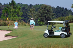Golfers on green with cart. Golfers enjoying themselves on the green sizing up a situation Stock Photography