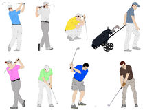 Golfers illustration Royalty Free Stock Photos