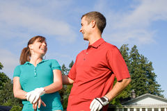 Golfers Laughing - Horizontal Royalty Free Stock Photography