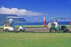 Golfers By The Pacific, Kauai, Hawaii Royalty Free Stock Photos