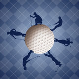 Golfers silhouette on golf ball Stock Photo