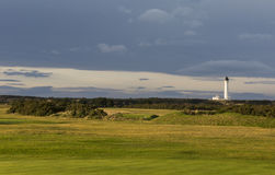 Golfers view of Covesea Lighthouse. Stock Photos