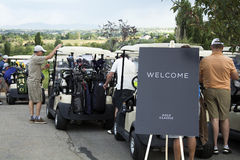 Golfers waiting for golf tournament Royalty Free Stock Image