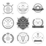 Golfetikett- och symbolsuppsättning vektor Arkivbilder