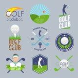 Golfetikettuppsättning Arkivfoto