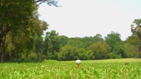 Golfeur de mouvement lent frappant la boule de golf sur la pi?ce en t  banque de vidéos