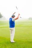 Golfeur heureux encourageant sur le putting green Photographie stock