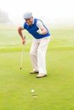 Golfeur heureux encourageant sur le putting green Photographie stock libre de droits