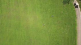 Golfeur jouant dans le golf sur la vue supérieure de cours vert du bourdon volant Personnes de vue aérienne jouant sur le champ v banque de vidéos