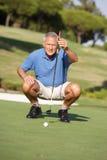 Golfeur mâle aîné sur le terrain de golf Photos stock