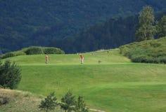 Golfeurs sur le té image libre de droits