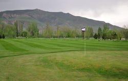 Golffält med flaggan Fotografering för Bildbyråer
