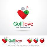Golfförälskelse Logo Template Design Vector Fotografering för Bildbyråer