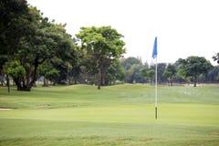 Golffeld mit Lochflagge Stockfotografie
