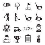 Golfflagga, golfboll och golfpinne Arkivbild