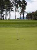 Golfflagga och boll på kurs Fotografering för Bildbyråer