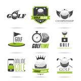 Golfflagge, Golfball und Golfstock Lizenzfreie Stockfotos
