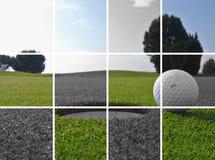 Golfgat en bal stock afbeeldingen