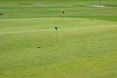 Golfgräsplanövning för att sätta hålflaggan med nummer fotografering för bildbyråer