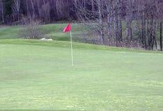 Golfgreen med flaggan, golfgreen med-flagga Arkivfoto