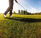 Golfgunga på kursen Golfaren utför en golf som skjutas från fet Arkivfoto