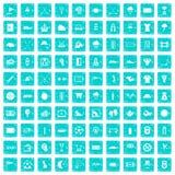100 Golfikonen stellten Schmutz blau ein Stockbilder