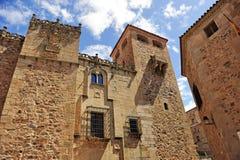 Golfines pałac, średniowieczny miasto, Caceres, Extremadura, Hiszpania Zdjęcie Stock