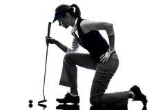 Golfing σκιαγραφία παικτών γκολφ γυναικών Στοκ εικόνες με δικαίωμα ελεύθερης χρήσης
