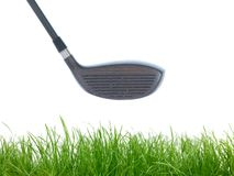 Golfing. Equipment on artficial grass outdoors royalty free stock photo