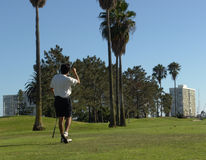 Golfing. Golfer and golf course on Coronado Island, California Stock Image