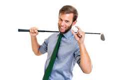 Golfing. Businessman with golf club and ball isolated Royalty Free Stock Images