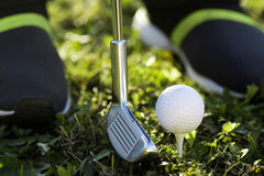 Golfing concept. Golf equipments as putter and golf ball are in the grass Stock Photos