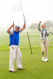 Golfing couple cheering on the putting green. On a foggy day at the golf course Stock Photo
