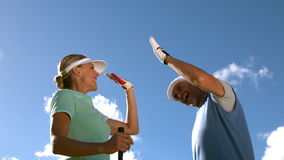 Golfing couple high fiving on the golf course stock footage