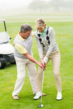 Golfing couple putting ball together. On a foggy day at the golf course royalty free stock photos