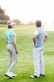 Golfing couple on the putting green Royalty Free Stock Images
