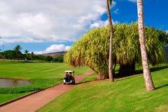Golfing en Oahu, Hawaii imagenes de archivo