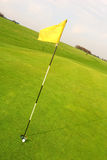 Golfing Flag. Golf flag in hole and ball Royalty Free Stock Images