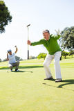 Golfing friends cheering on the putting green. At the golf course royalty free stock images