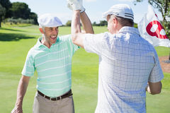 Golfing friends high fiving on the eighteenth hole Royalty Free Stock Photos